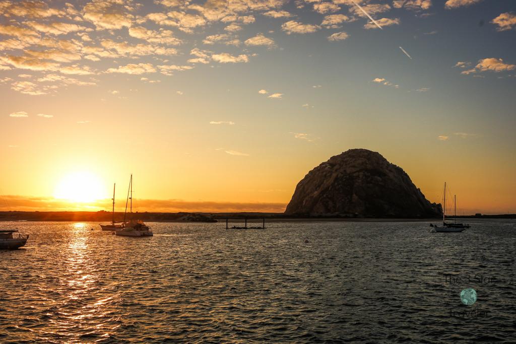 Sunset behind The Libertine Pub in Morro Bay, California | The 3 Star Traveler